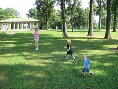 Traci and the boys at Tower Grove Park